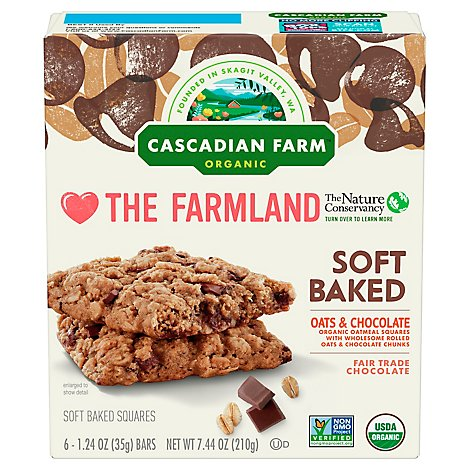 Cascadian Farm Organic Oatmeal Squares Soft Baked Oats And Chocolate 6 Count - 7.44 Oz