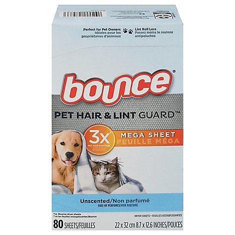 Bounce Pet & Lint Sheet Unscented - 80 CT