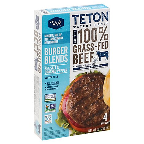 Teton Waters Ranch Sea Salt & Cracked Pepper Grass-fed Bf Burger - 5.6 OZ
