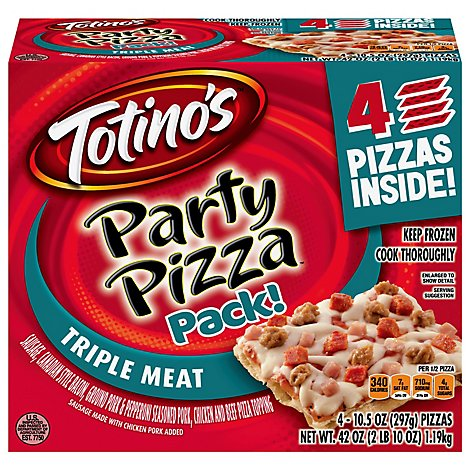 Totinos Triple Meat Party Pizza 4 Pack - 4-10.5 OZ