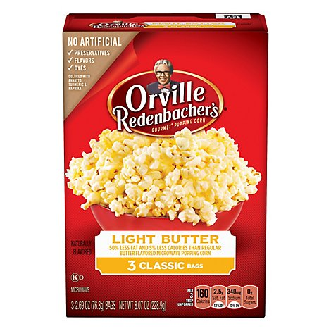Orville Redenbachers Light Butter Microwave Pop Up Bowl Popcorn - 3-2.69 OZ