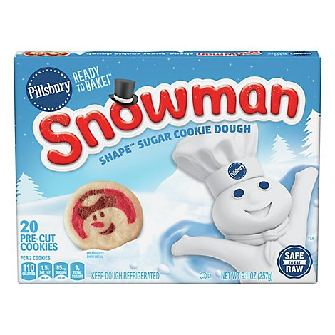 Pillsbury Ready To Bake Snowman Shape Sugar Cookie Dough - 9.1 OZ