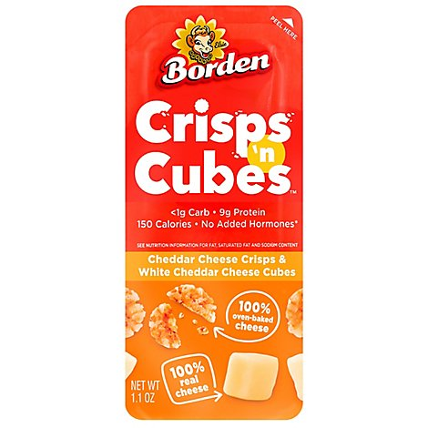 Borden Cracker White Cheddar Cheese Cubes & Cheddar Cheese Crips - 1.1 Oz