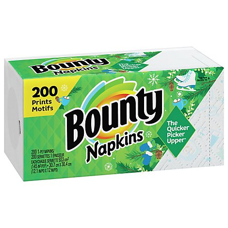 Bounty Napkins 1 Ply Winter Prints - 200 Count