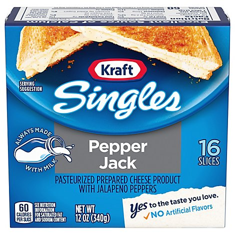 Kraft Singles Processed Cheese-slices Pepper Jack - 12 OZ