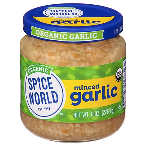 Spice World Org Garlic Minced Jar - 8 OZ