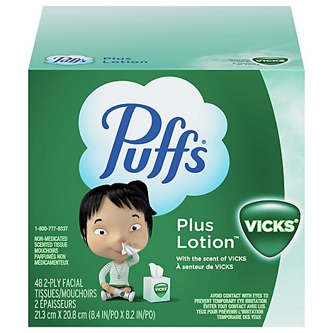 Puffs Plus Lotion Facial Tissue With The Scent Of Vicks 2 Ply - 48 Count