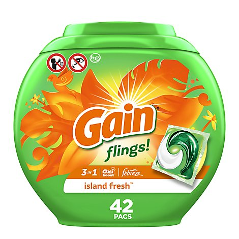 Gain flings! Laundry Detergent Liquid Pacs HE Compatible Island Fresh Scent - 42 Count