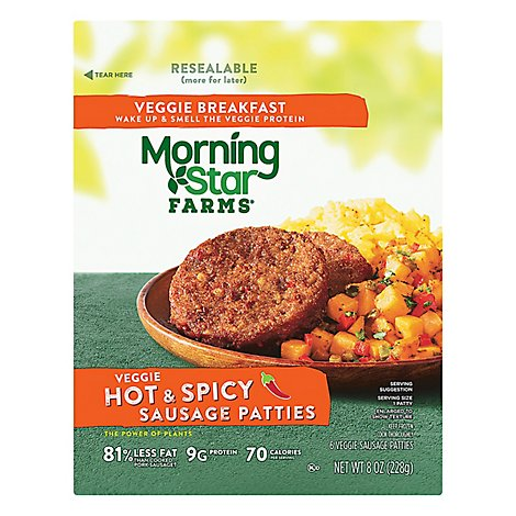 Morningstar Farms Hot And Spicy Breakfast Sausage Patties - 8 OZ