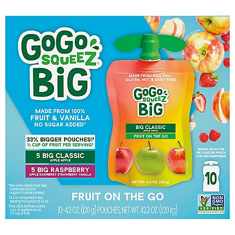 Gogo Squeez Apple Raspberry Strawberry - 4.2 OZ