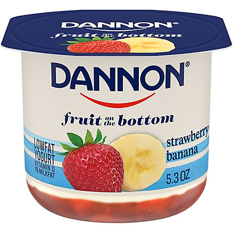 Dannon Yogurt Lowfat Fruit On The Bottom Strawberry Banana - 5.3 Oz