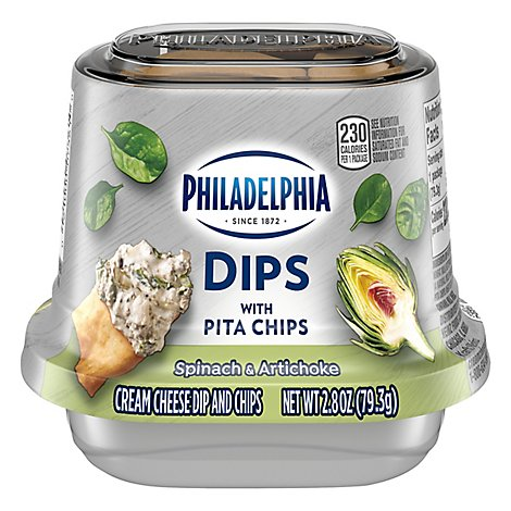 Philadelphia Dips With Pita Chips Spinach And Artichoke - 2.8 OZ
