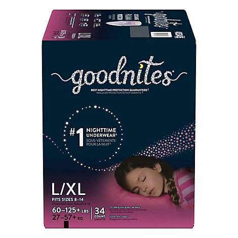 Goodnites Youth Pants L/xl Girl Giga - 34 CT
