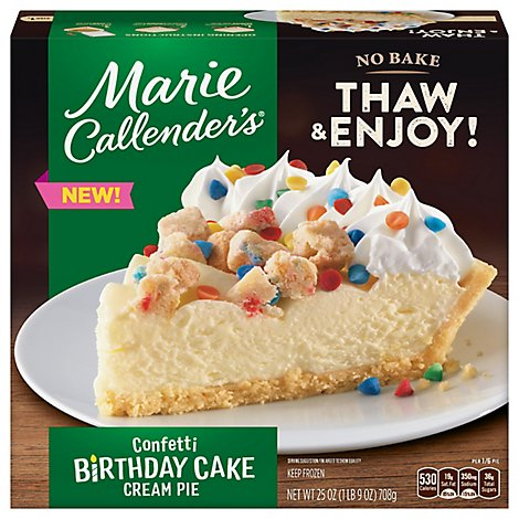 Marie Callenders Confetti Birthday Cake Cream Pie Thaw And Serve, Frozen - 25 OZ