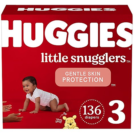 Huggies Little Snugglers Diapers Size 3 Huge - 136 CT
