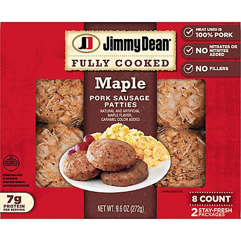 Jimmy Dean Maple Patty Fully Cooked - 9.6 OZ