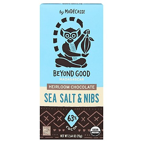 Madecasse Chocolate Bar Sea Salt & Nibs - 2.64 OZ