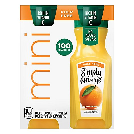 Simply Orange Pulp Free Juice Bottles - 4-8 OZ