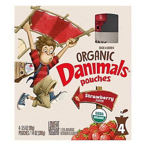 Danimals Organic Pouches Yogurt Lowfat Strawberry - 4-3.5 Oz