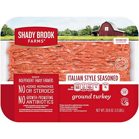 Shady Brook Farms Ground Turkey Italian Style Seasoned - 20.8 OZ