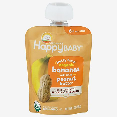 Happy Baby Organics Nutty Blends Organic Bananas With 1/2 Tsp Peanut Butter - 3 OZ
