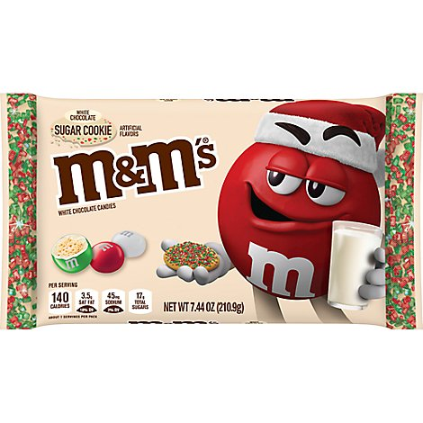 M&Ms Chocolate Candies Chrismas Holiday White Chocolate Sugar Cookie - 7.44 Oz