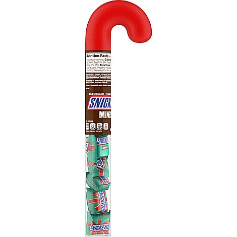 Snickers Chocolate Candy Bars Christmas Minis Size Cane Tube - 2.14 Oz