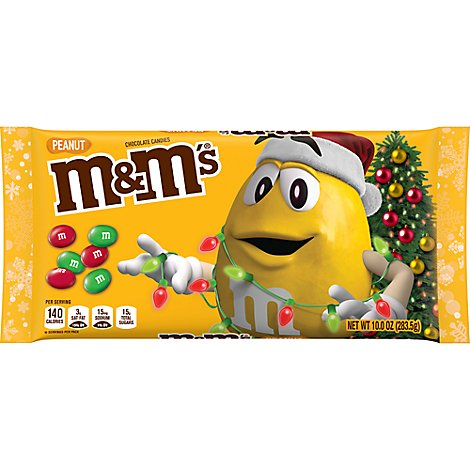 M&Ms Chocolate Candies Chrismas Holiday Milk Chocolate Peanut - 10 Oz