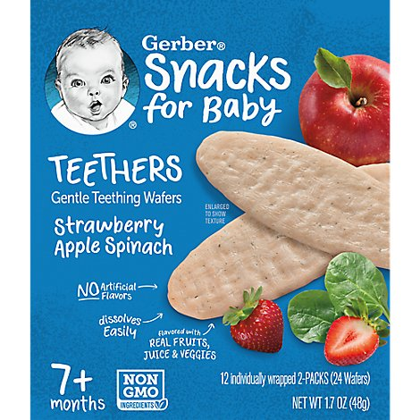 Gerber Strawberry Apple Spinach Teethers Wafers - 1.7 OZ