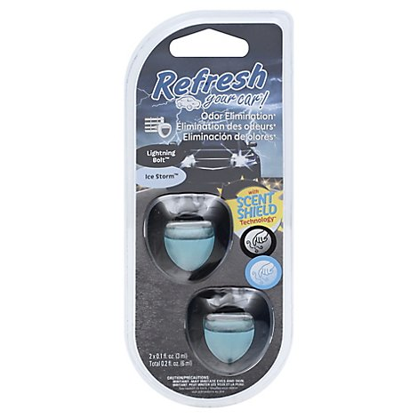 Refresh Your Car Mini Diffusers Lightning Bolt/Ice Storm Duel Scent - 2 Count