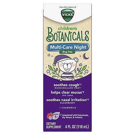 Vicks Childrens Botanicals Dietary Supplement Cough + Mucus + Nasal Multi Care Night - 4 Fl. Oz.