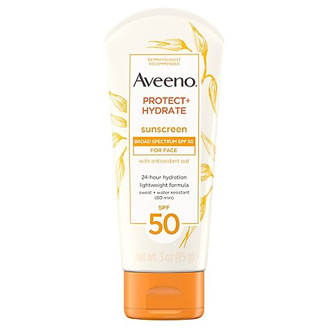 Aveeno Active Naturals Sunscreen Lotion Protect + Hydrate Broad Spectrum SPF 50 - 3 Oz