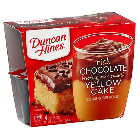 Duncan Hines Rich Chocolate Frosting Over Smooth Yellow Cake Pudding Cups, - 4-3.75 OZ