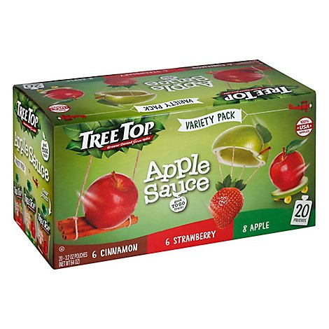 Tree Top Apple Strawberry Cinnamon Variety Pack Apple Sauce Pouch - 20-3.2 OZ
