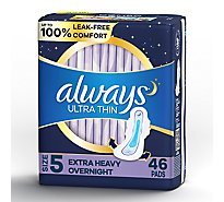 Always Ultra Thin Pads Size 5 Extra Heavy Overnight Absorbency With Wings Unscented - 46 Count