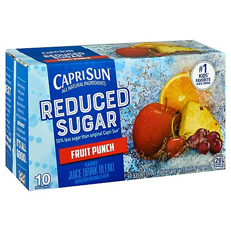 Capri Sun Reduced Sugar Ready To Drink Soft Drink Fruit Punch - 10-6 FZ