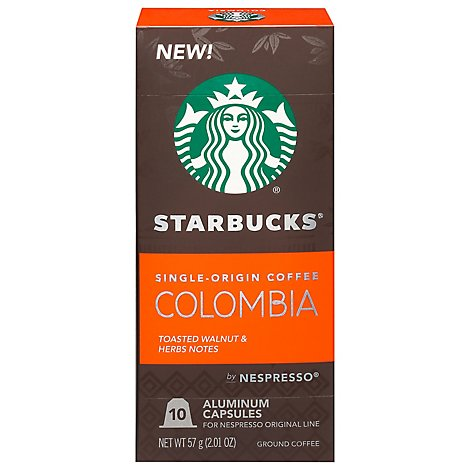 Starbucks Nespresso Medium Colombia Coffee Pods - 10 CT