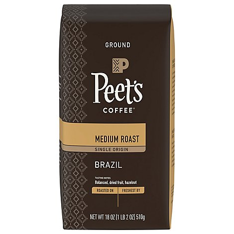 Peets Brazil Single Origin Ground Coffee - 18 OZ