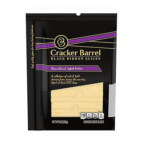 Cracker Barrel Natural Cheese-slices Heartland Aged Swiss Slices - 8 OZ