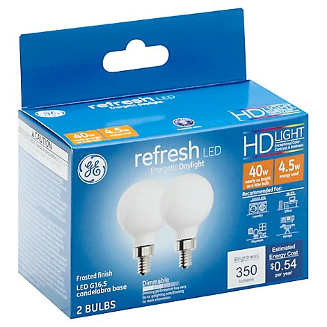 Ge Led Refresh G16.5 40w Eqv Sw - 2 CT