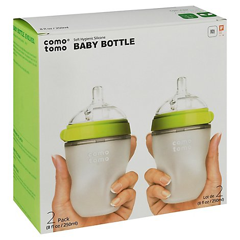 Comotomo Natural Feel It Baby Bottle Green 8oz - 2 CT