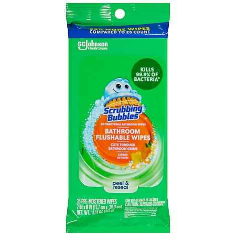 Scrubbing Bubbles Flushable Bathroom Wipes - 36 CT
