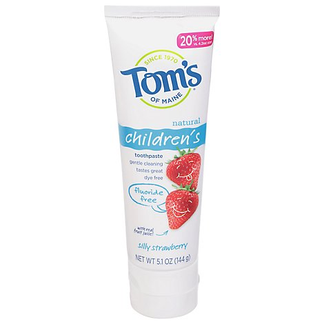 Toms Kids Fluoride Free Silly Strawberry Toothpaste - 5.1 OZ