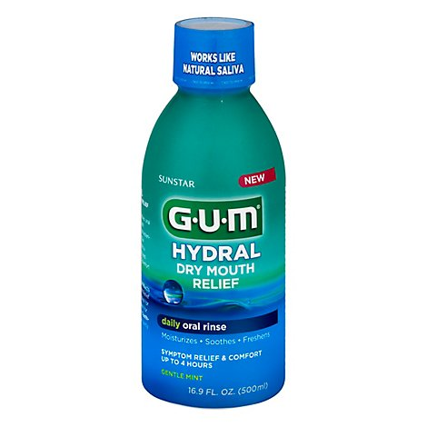 Gum Hydral Dry Mouth Relief Rinse Gentle Mint - 16.9 FZ