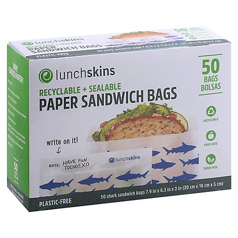 Lunchskins Bag Paper Sandwich Shark - 50 CT
