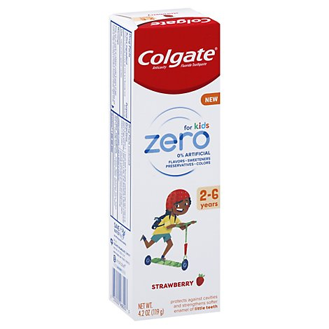 Colgate Zero Kids Strawberry Toothpaste 2-6yrs - 4.2 OZ