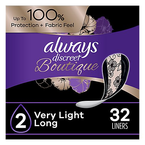 Always Discreet Liners Very Light Absorbency Long - 32 CT