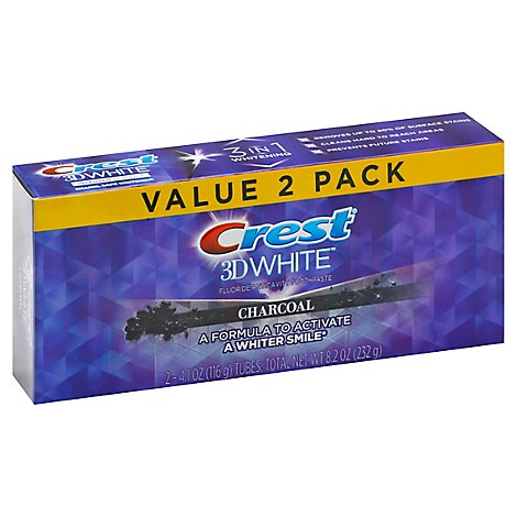 Crest 3d White Charcoal Whitening Toothpaste 4.1 Oz Pack Of 2 - 2-4.1 OZ