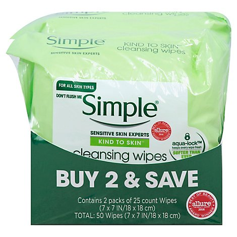 Simple Facial Care Cleansing Wipes - 2-25 CT
