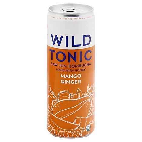 Wild Tonic Mango Ginger Jun Kombucha - 12 OZ
